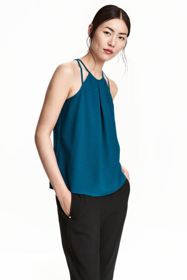 Sleeveless strappy top - Dark blue - Ladies | H&M CN