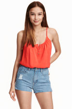 Strappy top with buttons - Coral red - Ladies | H&M CN 1