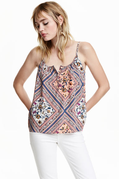 Strappy top with buttons - Apricot/Patterned - Ladies | H&M CN 1