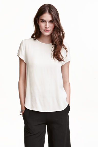 Short-sleeved blouse - White - Ladies | H&M CN 1