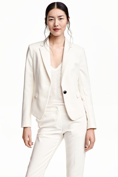 Fitted jacket - Natural white - Ladies | H&M CN 1