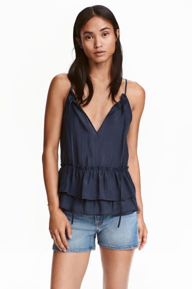 Frilled top in a lyocell blend - Dark blue - Ladies | H&M CN 1