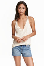 Top with a lace back - Natural white - Ladies | H&M CN 1