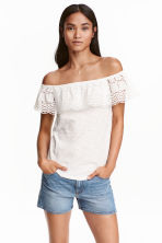 Off-the-shoulder top - White marl - Ladies | H&M CN 1