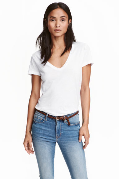 Tricot T-shirt met V-hals - Wit - DAMES | H&M BE 1