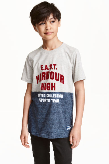 Printed T-shirt - Grey marl - Kids | H&M CN 1