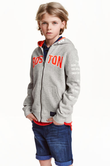 Hooded jacket with a print - Grey/Boston -  | H&M CN 1