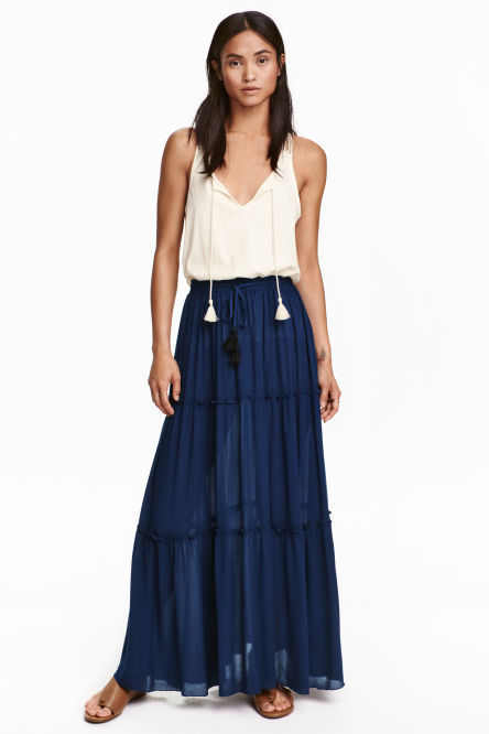 Tiered crêpe skirt