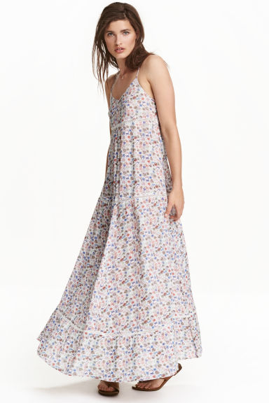 Patterned maxi dress - White/Floral - Ladies | H&M CN 1