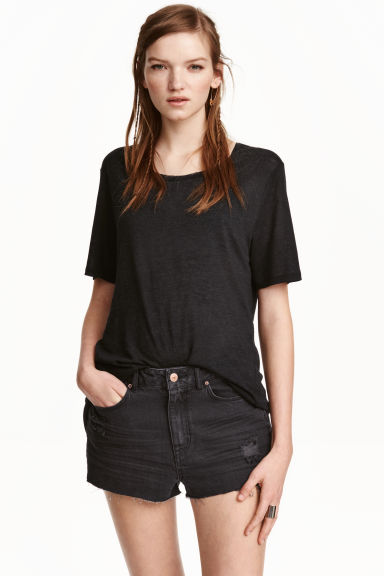 Long T-shirt - Black - Ladies | H&M CN 1