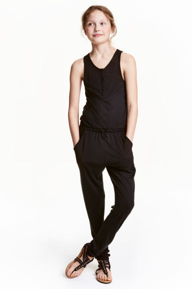 Jumpsuit with buttons - Black - Kids | H&M CN 1