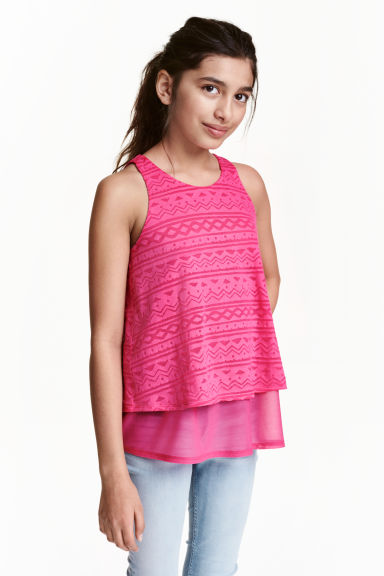 Burnout-patterned top - Cerise - Kids | H&M CN 1