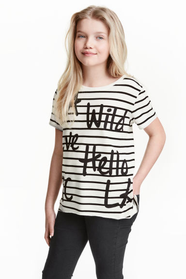 Jersey top - Black/Striped - Kids | H&M CN 1