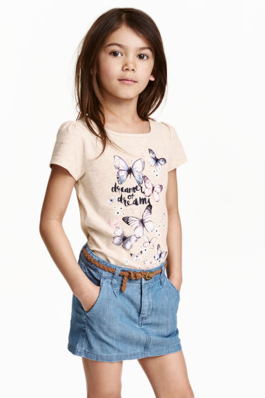 Jersey top with puff sleeves - Light beige/Butterflies - Kids | H&M CN 1