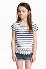 Top with lace - Dark blue/Striped -  | H&M CN 1