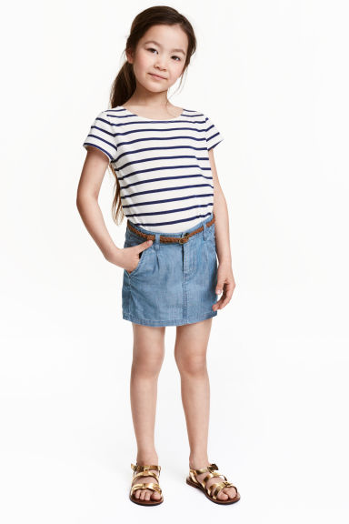 Skirt with a braided belt - Light denim blue - Kids | H&M CN 1