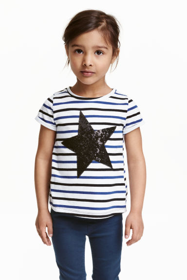 Jersey top with a motif - White/Star  - Kids | H&M CN 1