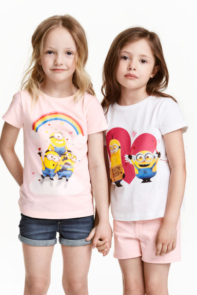 2-pack printed jersey tops - Light pink/Minions - Kids | H&M CN 1