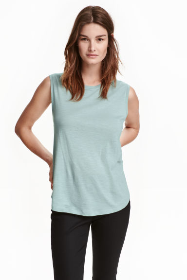 Vest top - Light turquoise marl - Ladies | H&M CN 1