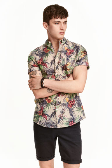 Short-sleeved cotton shirt - Beige/Floral - Men | H&M CN 1