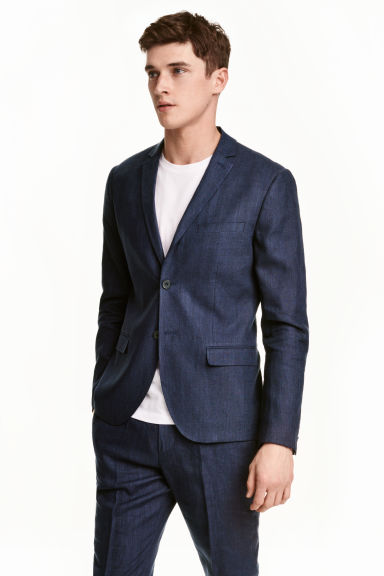 Blazer in misto lino - Blu scuro - UOMO | H&M IT 1