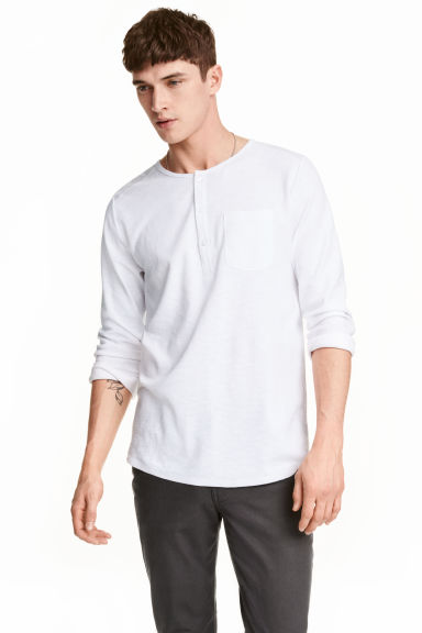 Jersey Henley shirt - White - Men | H&M CN 1