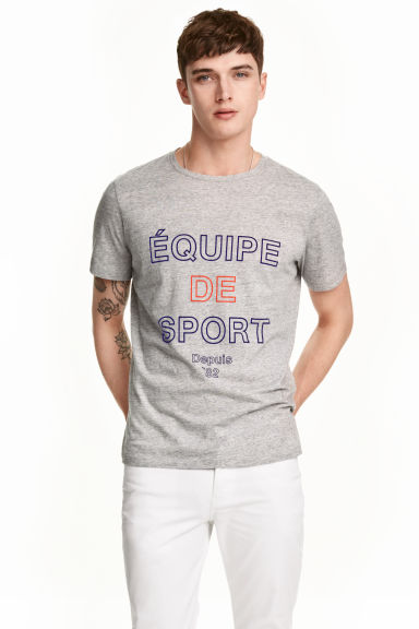 Printed T-shirt - Grey marl - Men | H&M CN 1