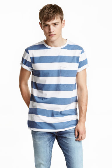 T-shirt with a chest pocket - Dark blue/Striped - Men | H&M CN
