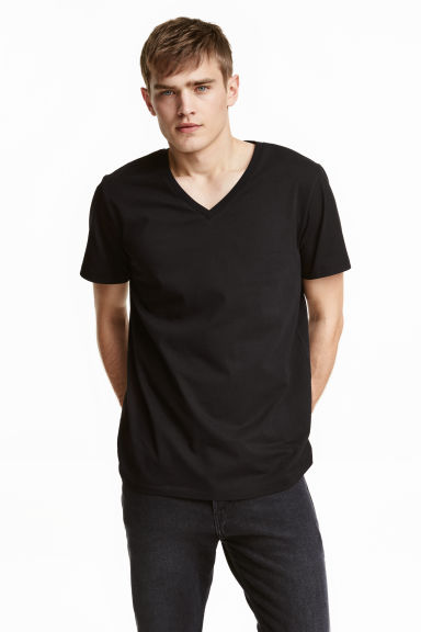 V-neck T-shirt - Black - Men | H&M CN 1