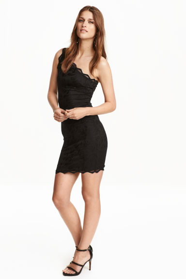 One-shoulder lace dress - Black - Ladies | H&M CN 1