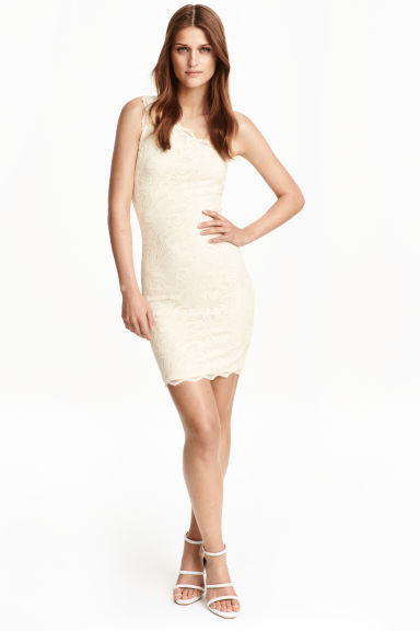 One-shoulder lace dress - Natural white - Ladies | H&M CN 1