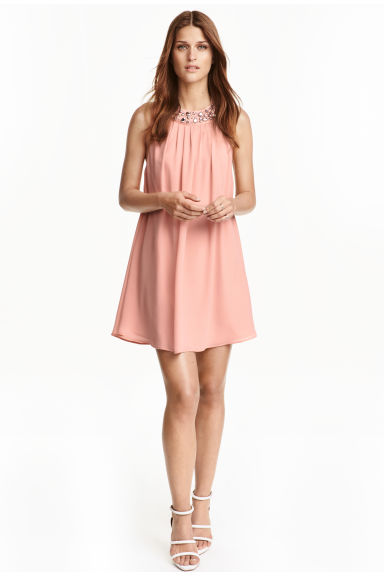 Beaded dress - Powder pink - Ladies | H&M CN 1