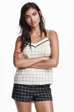 Pyjamas with shorts and top - Black/White/Checked - Ladies | H&M CN 1