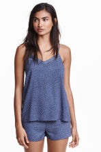Pyjamas with shorts and top - Dark blue/Spotted - Ladies | H&M CN 1