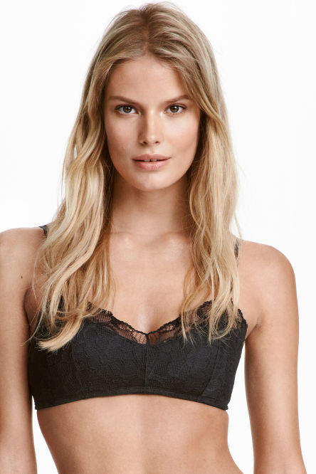 Non-wired lace bandeau bra