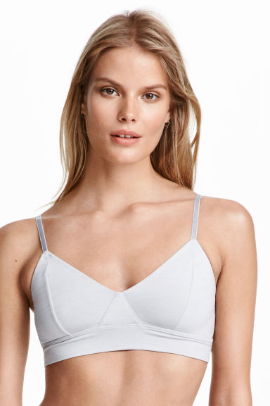Soft microfibre bra - Grey/Silver - Ladies | H&M CN 1