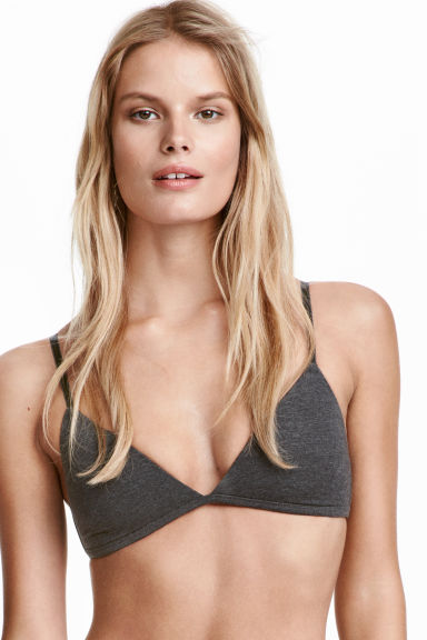 2-pack non-wired T-shirt bras - Dark grey/White - Ladies | H&M CN 1