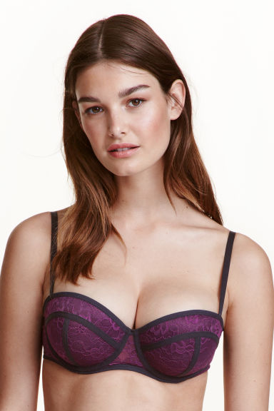 Reggiseno balconcino in pizzo - Viola scuro - DONNA | H&M IT 1