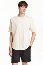 T-shirt with a nepped texture - Light beige - Men | H&M CN 1