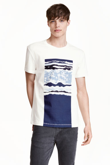 T-shirt with a motif - White/Dark blue - Men | H&M CN 1