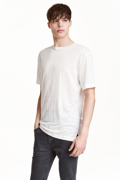 Linen T-shirt - White - Men | H&M CN 1