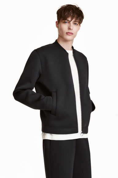 Bomber jacket in scuba fabric - Black - Men | H&M GB