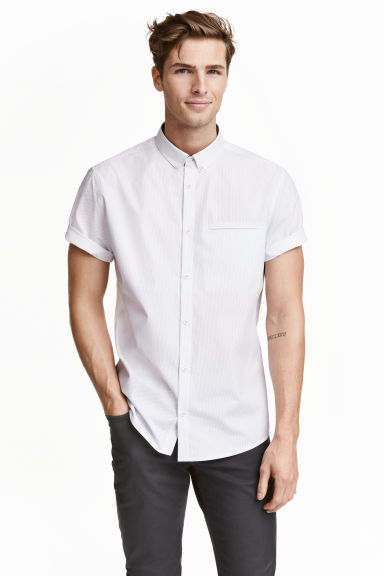 Short-sleeved cotton shirt - White/Spotted - Men | H&M CN 1
