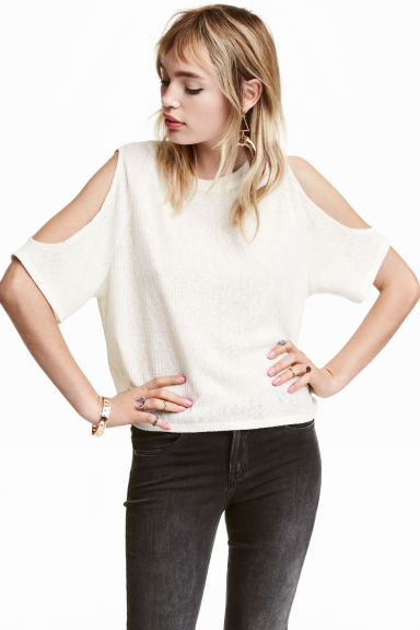 Ribbed cold shoulder top - Natural white - Ladies | H&M CN