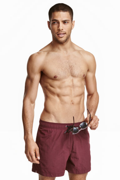 Solid colour swim shorts - Burgundy - Men | H&M CN 1