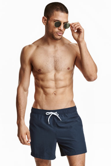 Solid colour swim shorts - Dark blue - Men | H&M CN 1