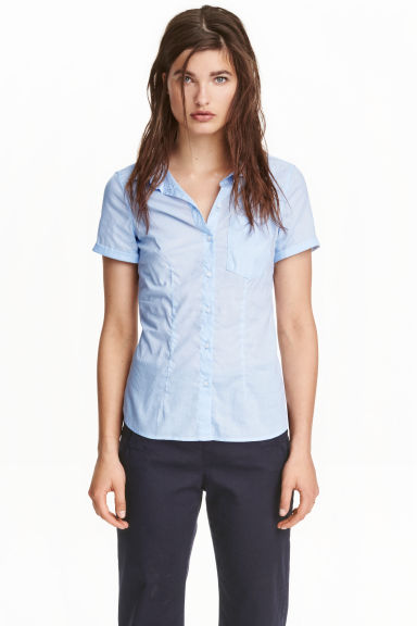 Short-sleeved cotton blouse - Light blue - Ladies | H&M CN 1