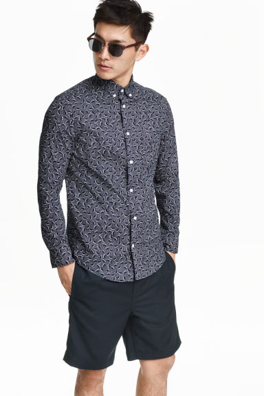 Cotton shirt - Dark blue/Patterned - Men | H&M CN 1