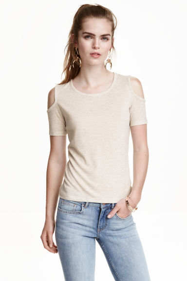 Fine-knit top - Light grey-beige - Ladies | H&M CN 1