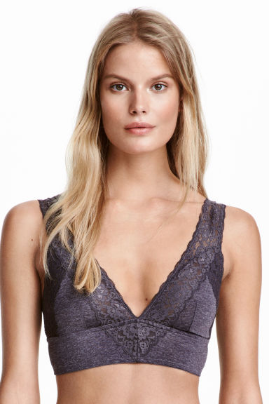 Soft microfibre and lace bra - Dark grey - Ladies | H&M CN